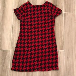 Red and Black Houndstooth A Line Dress